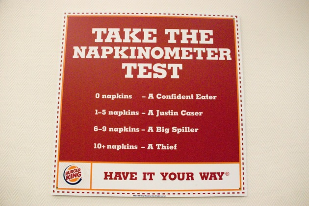 Burger King napkin sign